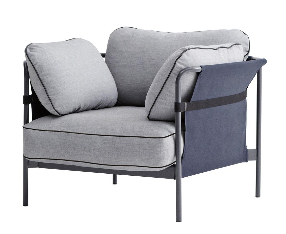 Mobilier - Fauteuils - Fauteuil rembourré Can / Structure grise - Hay - Gris clair / Côtés : bleu - Métal, Mousse, Tissu