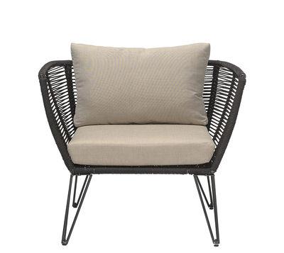 Outdoor - Chaises et fauteuils hauts - Fauteuil rembourré Metal / Fils PVC - Bloomingville - Taupe & noir - Acier laqué, Fils PVC, Mousse, Tissu