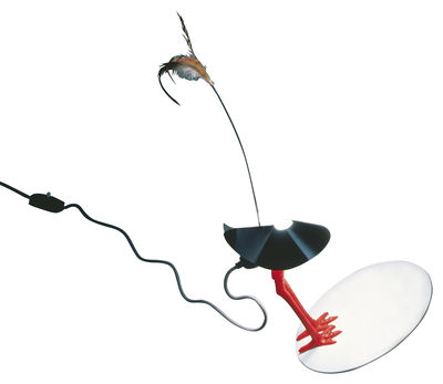 Illuminazione - Lampade da tavolo - Lampada da tavolo Bibibibi di Ingo Maurer - Rosso /Nero - Metallo, Piuma, Plastica, Porcellana