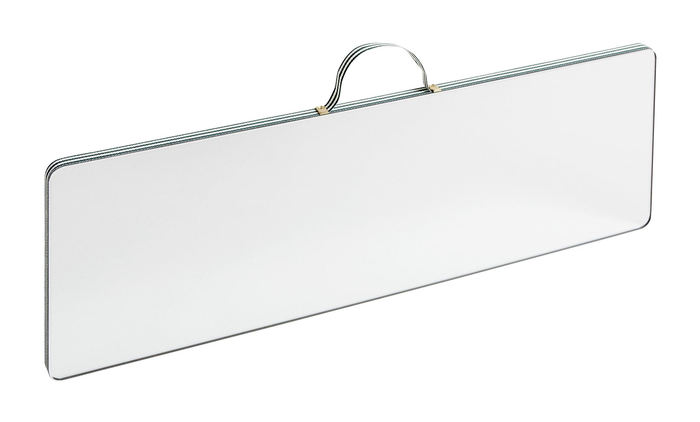 Déco - Miroirs - Miroir mural Ruban Large / Rectangle - L 43,5 x H 13,5 cm - Hay - Rayures vertes - Contreplaqué de chêne, Laiton, Tissu polyester, Verre