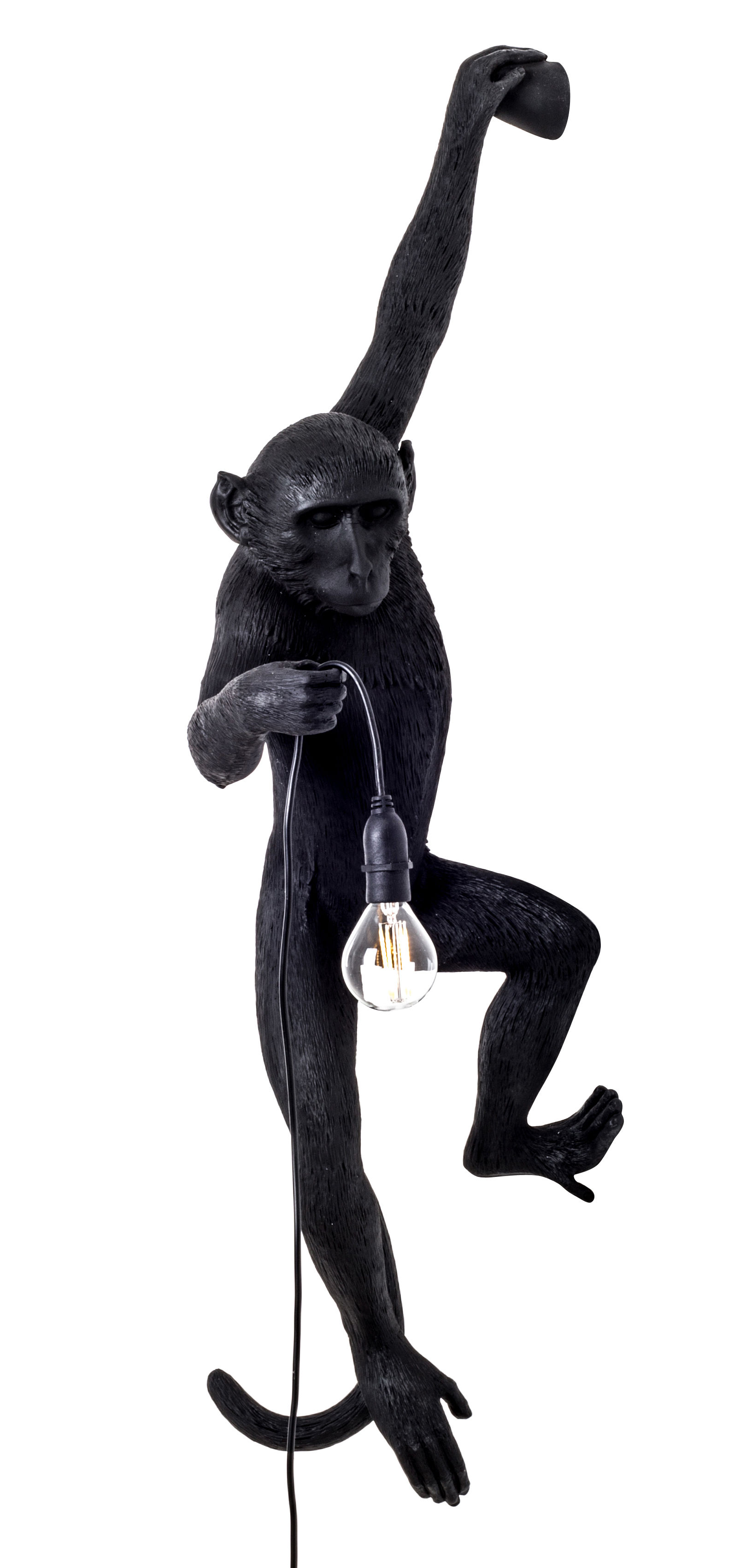 Lighting - Wall Lights - Monkey Hanging Outdoor wall light - / Outdoor - H 76.5 cm by Seletti - Black - Resin
