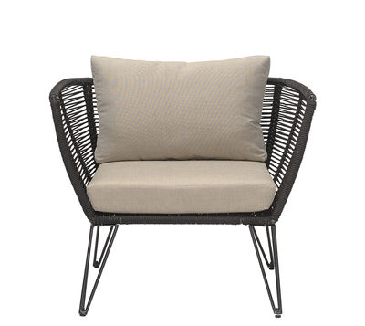 Outdoor - Garden chairs - Mundo Padded armchair - / Indoors & outdoors by Bloomingville - Taupe & black - Fabric, Foam, Lacquered steel, PVC wire