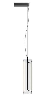 Lighting - Pendant Lighting - Guise Pendant - / Diffuseur vertical - LED by Vibia - Laqué graphite mat - Aluminium, Borosilicated glass