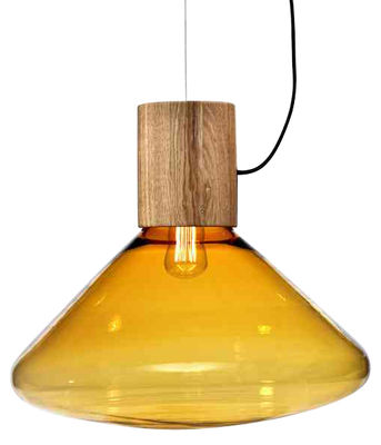 Lighting - Pendant Lighting - Muffin Pendant by Brokis - Amber glass - Blown glass, Oak