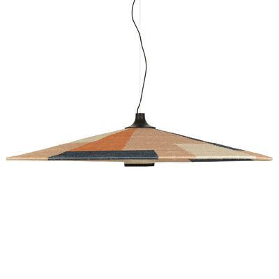 Lighting - Pendant Lighting - Parrot XXL Pendant - / Ø 120 x H 24 cm - Hand-braided abaca by Forestier - Sand - Abaca, Oak