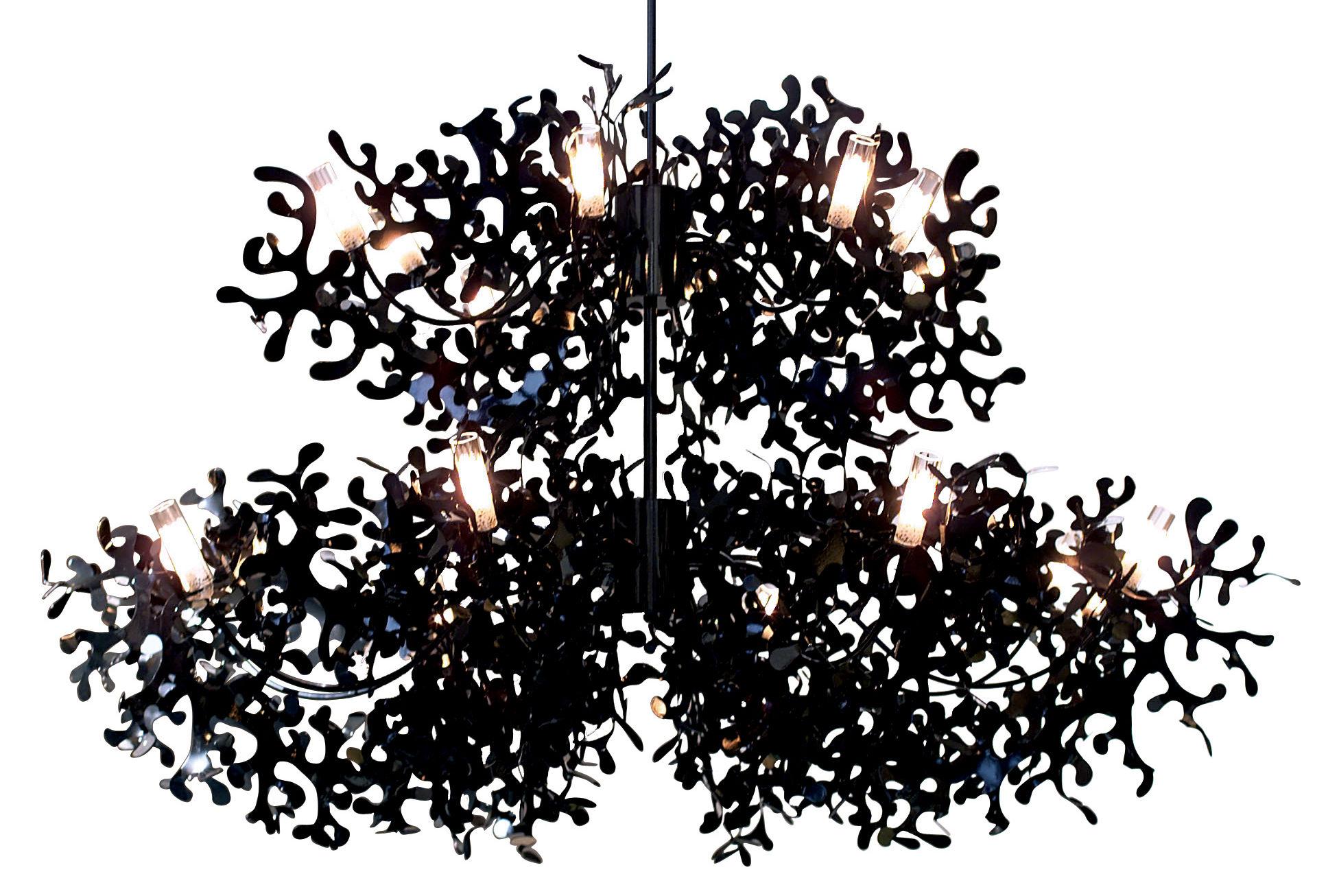 Leuchten - Pendelleuchten - Supercoral 16 Pendelleuchte Ø 140 cm - Lumen Center Italia - Schwarz - lackiertes Metall