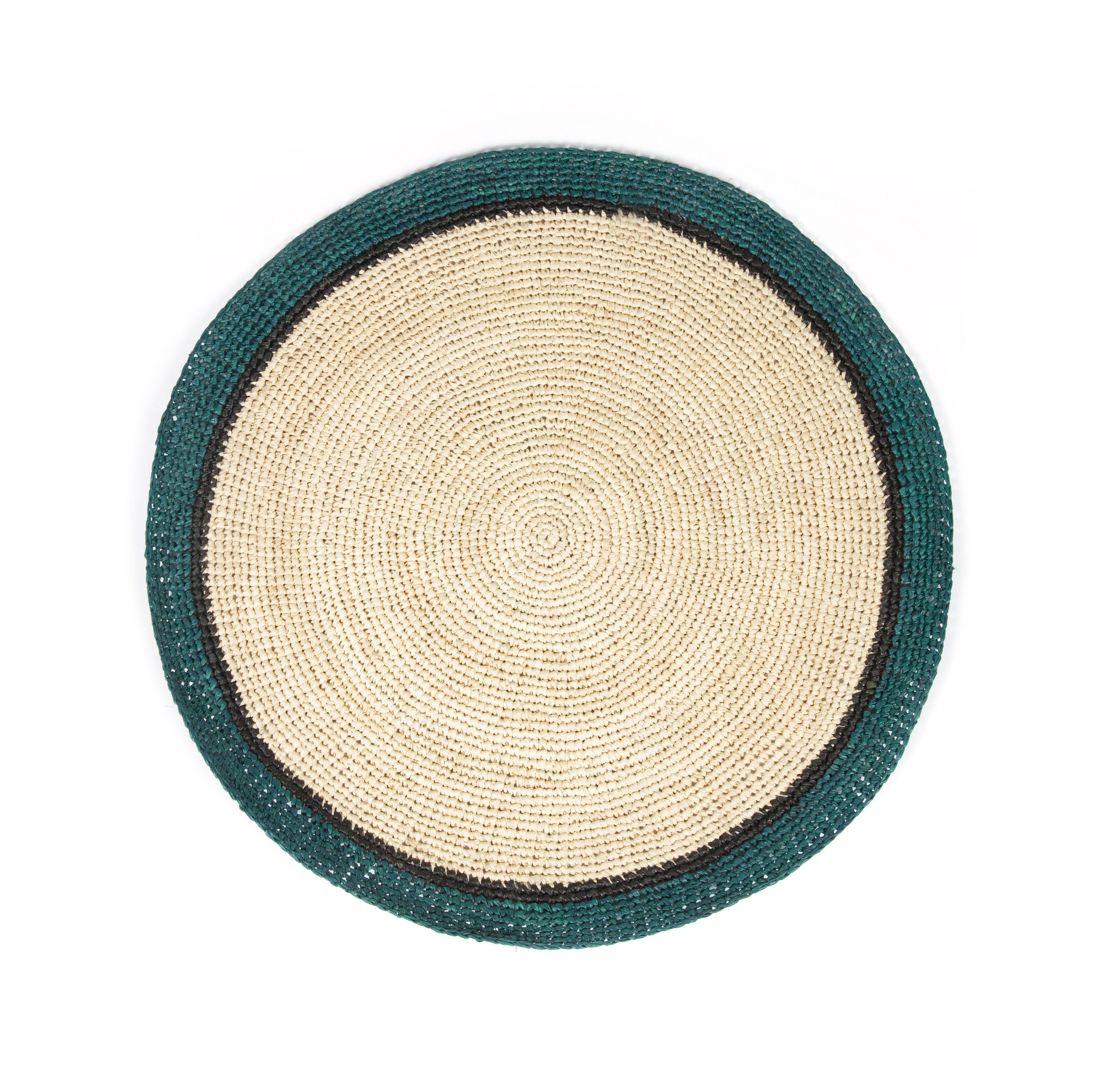 Tableware - Napkins & Tablecloths - Globe Placemat - / Hand-woven raffia by Maison Sarah Lavoine - Sarah blue / Natural - Raffia
