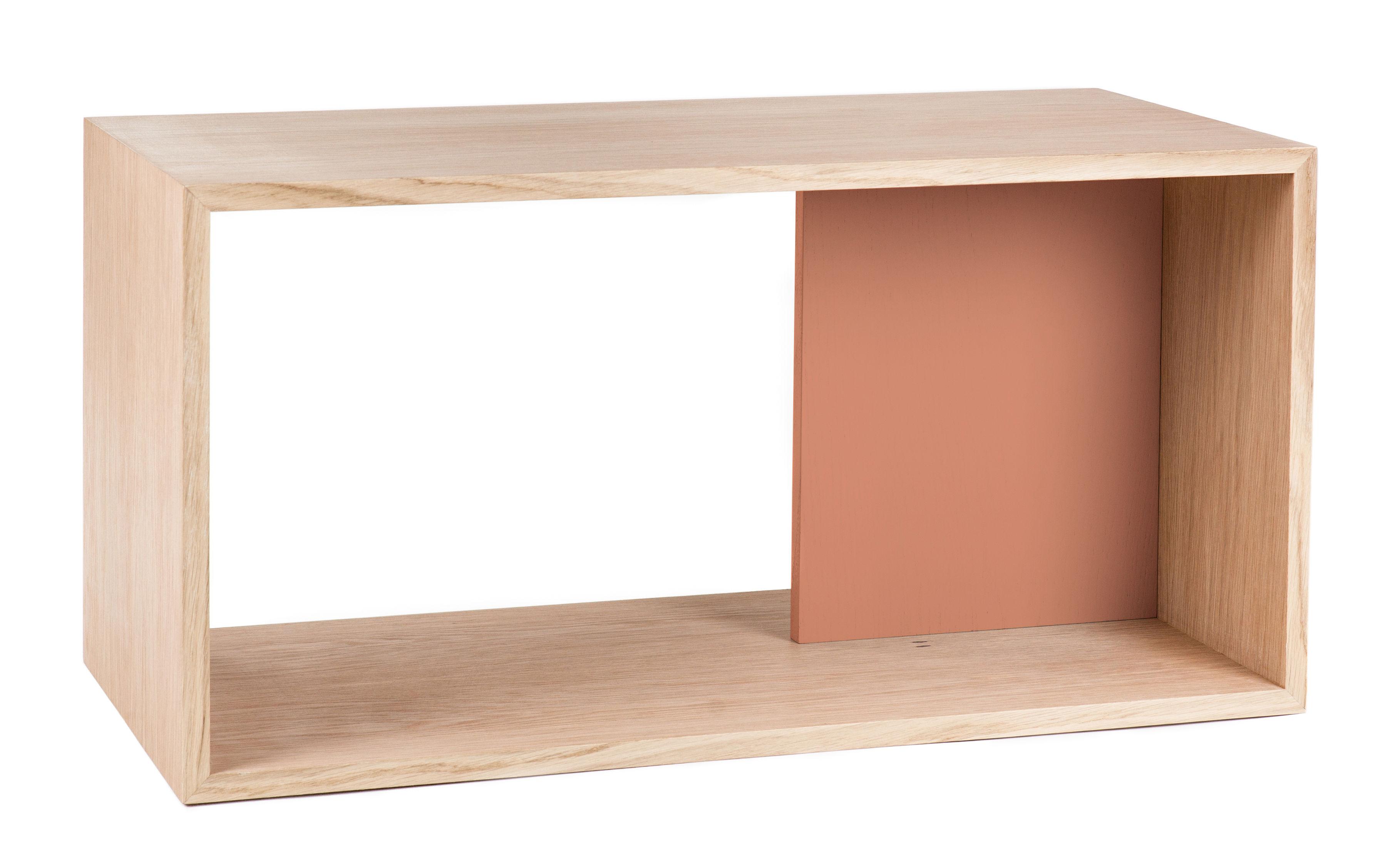 Arredamento - Scaffali e librerie - Mensola Edgar / L 72 x H 36 cm - Hartô - Corallo - MDF laccato, MDF rivestito in rovere
