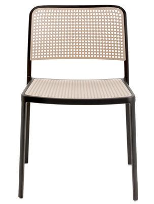 Arredamento - Sedie  - Sedia impilabile Audrey di Kartell - Struttura nera / Seduta e schienali sabbia - Alluminio laccato, Polipropilene