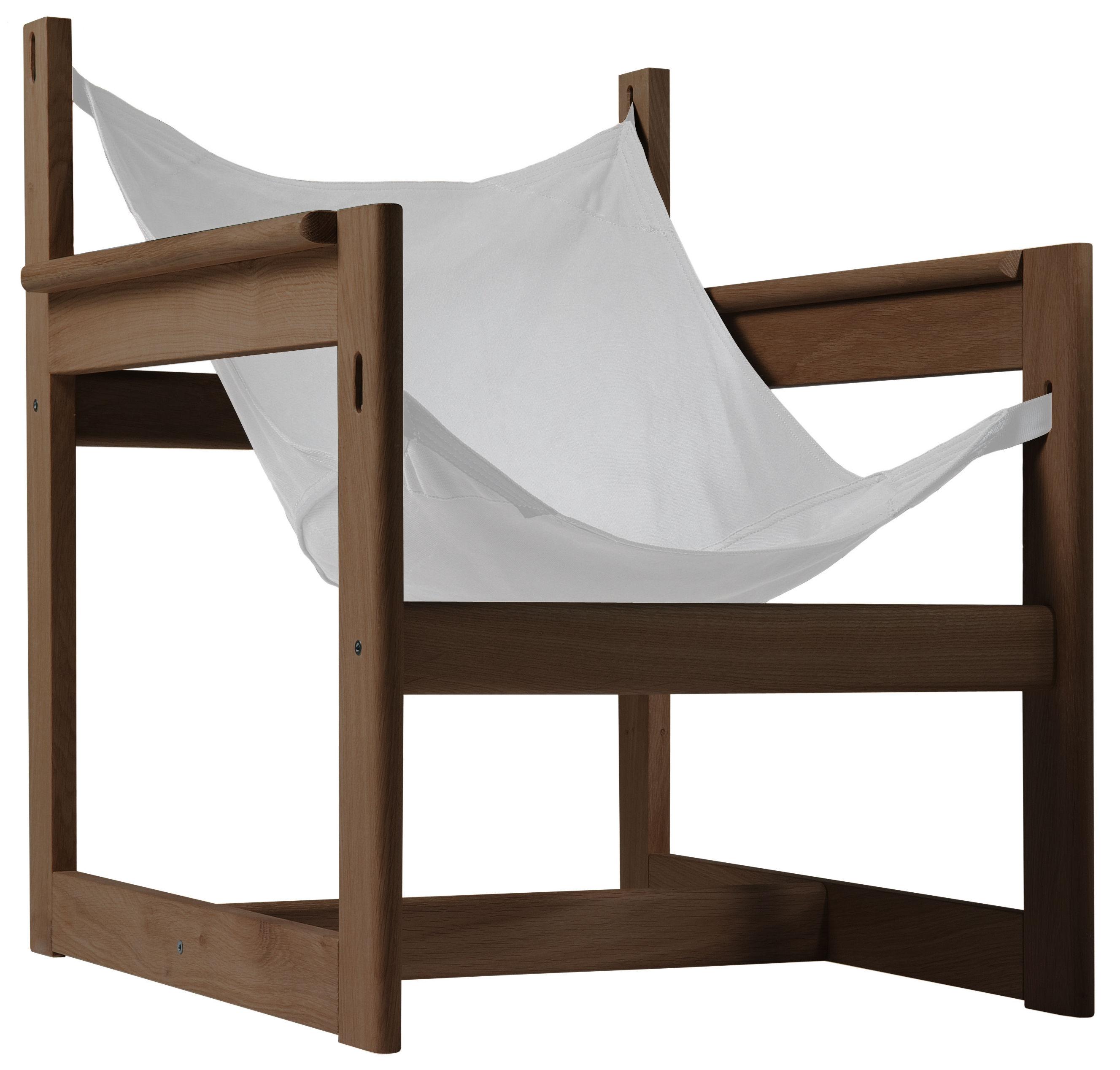 Möbel - Lounge Sessel - Pelicano Sessel - Objekto - Korpus Nussbaum / Baumwollbezug natur - Baumwolle, Nussbaum