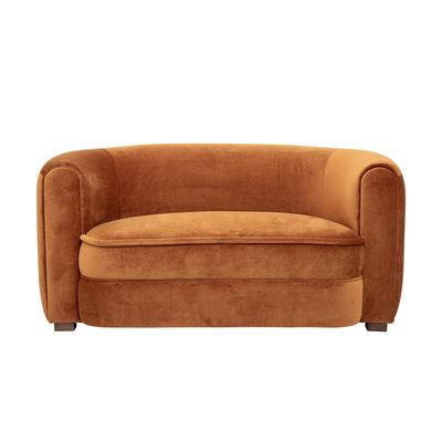 Möbel - Sofas - Malala Sofa / L 152 cm - Velours - Bloomingville - Marron / Pieds bois foncé - Holz, Polyester-Velours, Schaumstoff