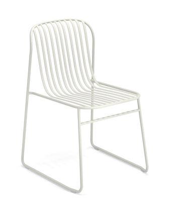 Möbel - Stühle  - Riviera Stapelbarer Stuhl / Metall - Emu - Weiß - gefirnister Stahl