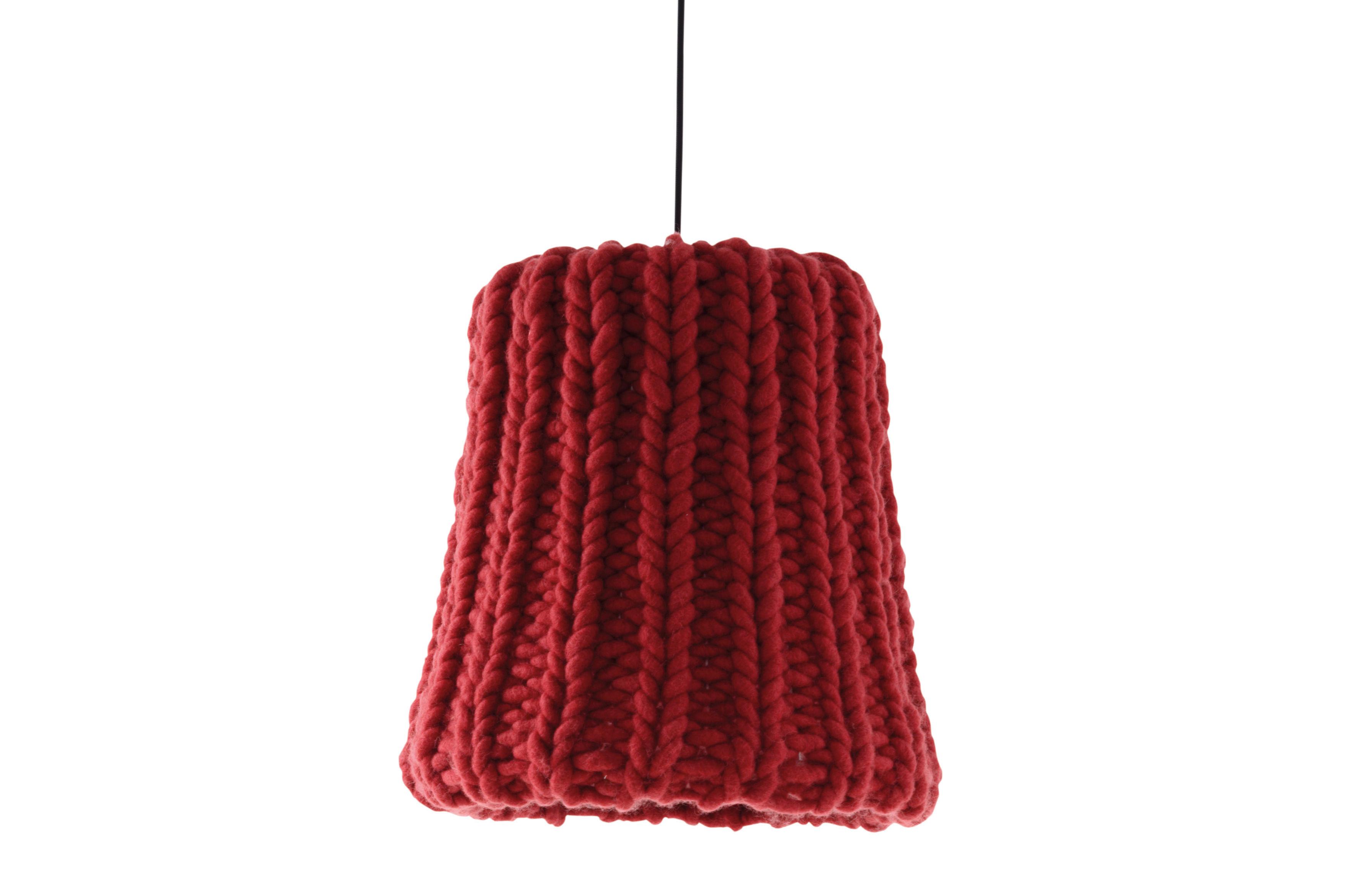 Luminaire - Suspensions - Suspension Granny Small / Ø 17,5 cm - Casamania - Framboise / Câble noir - Laine