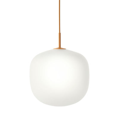 Luminaire - Suspensions - Suspension Rime / Ø 37  - Verre soufflé bouche - Muuto - Monture orange / Blanc - Aluminium verni, Verre soufflé bouche