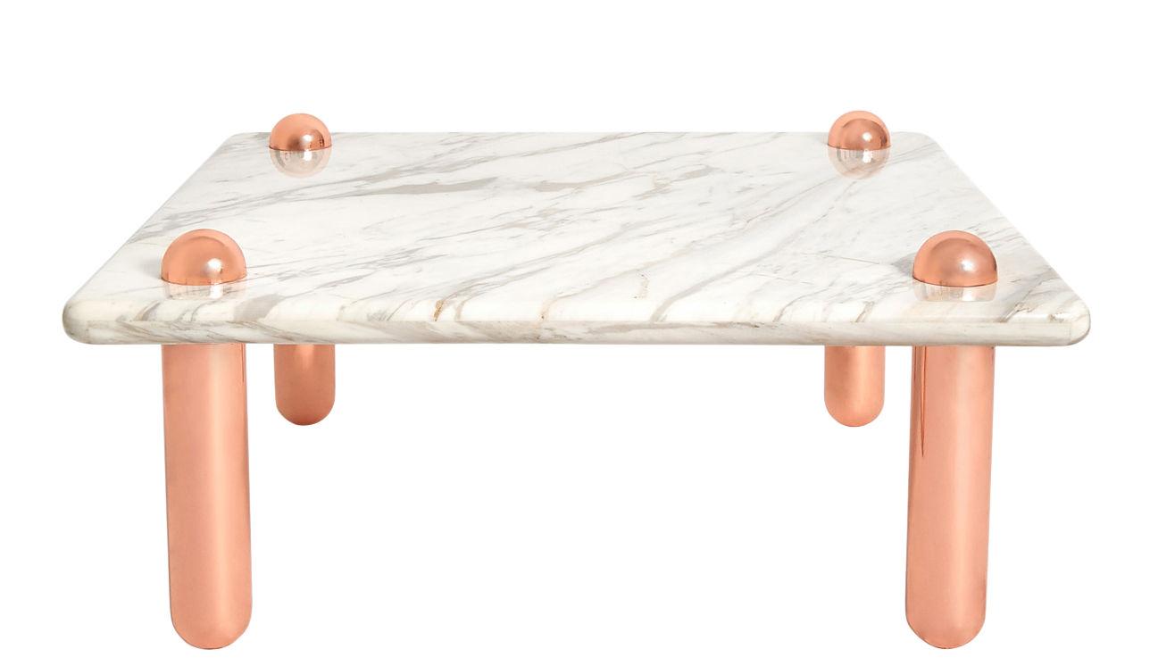 Mobilier - Tables basses - Table basse Ultra Cocktail / 90 x 90 x H 43 cm - Jonathan Adler - Marbre blanc / Rose doré - Acier, Marbre, Or
