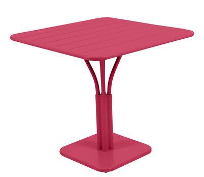 Table carrée Luxembourg / 80 x 80 cm - Pied central - Fermob rose praline en métal