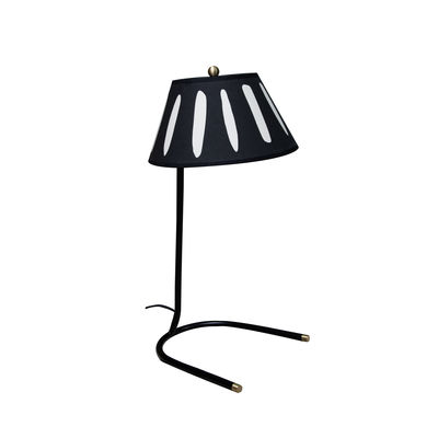 Lighting - Table Lamps - Charly Table lamp - / H 45 cm - Silkscreen printed cotton by Maison Sarah Lavoine - Black / Beige pattern - Lacquered steel, Screen-printed cotton percale