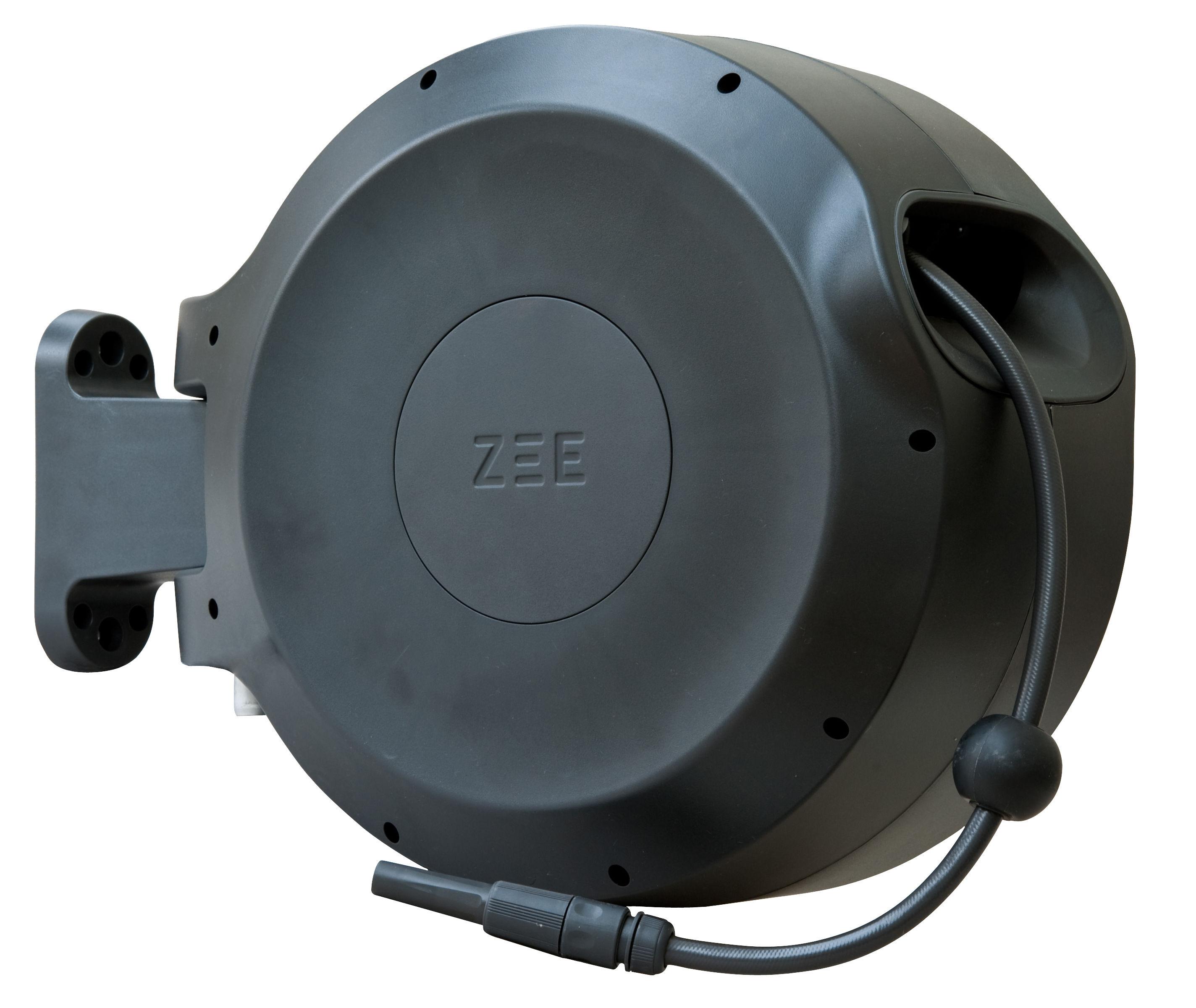 Outdoor - Vasi e Piante - Tubo per innaffiare Mirtoon - 30m / Avvolgimento automatico - Pistola in omaggio di Zee - Nero - ABS, PVC