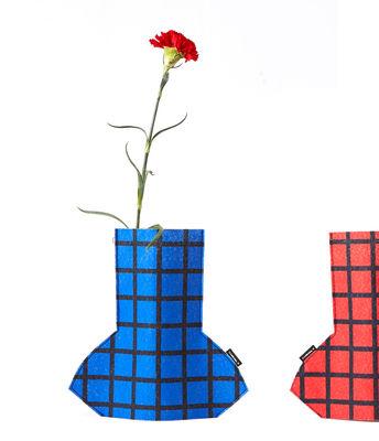 Decoration - Vases - Flower Power Small Vase cover - / H 28 cm - Felt by Sancal - Grid / Red & blue - Felt