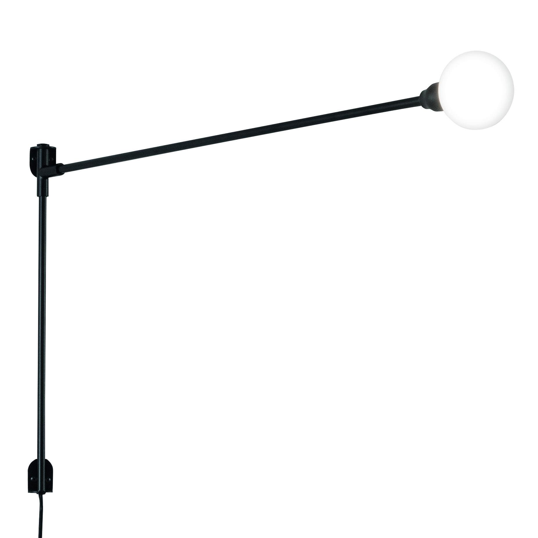 Luminaire - Appliques - Applique avec prise Potence pivotante Mini by Charlotte Perriand / L 100 cm - Nemo - L 100 cm / Noir - Métal peint, Verre