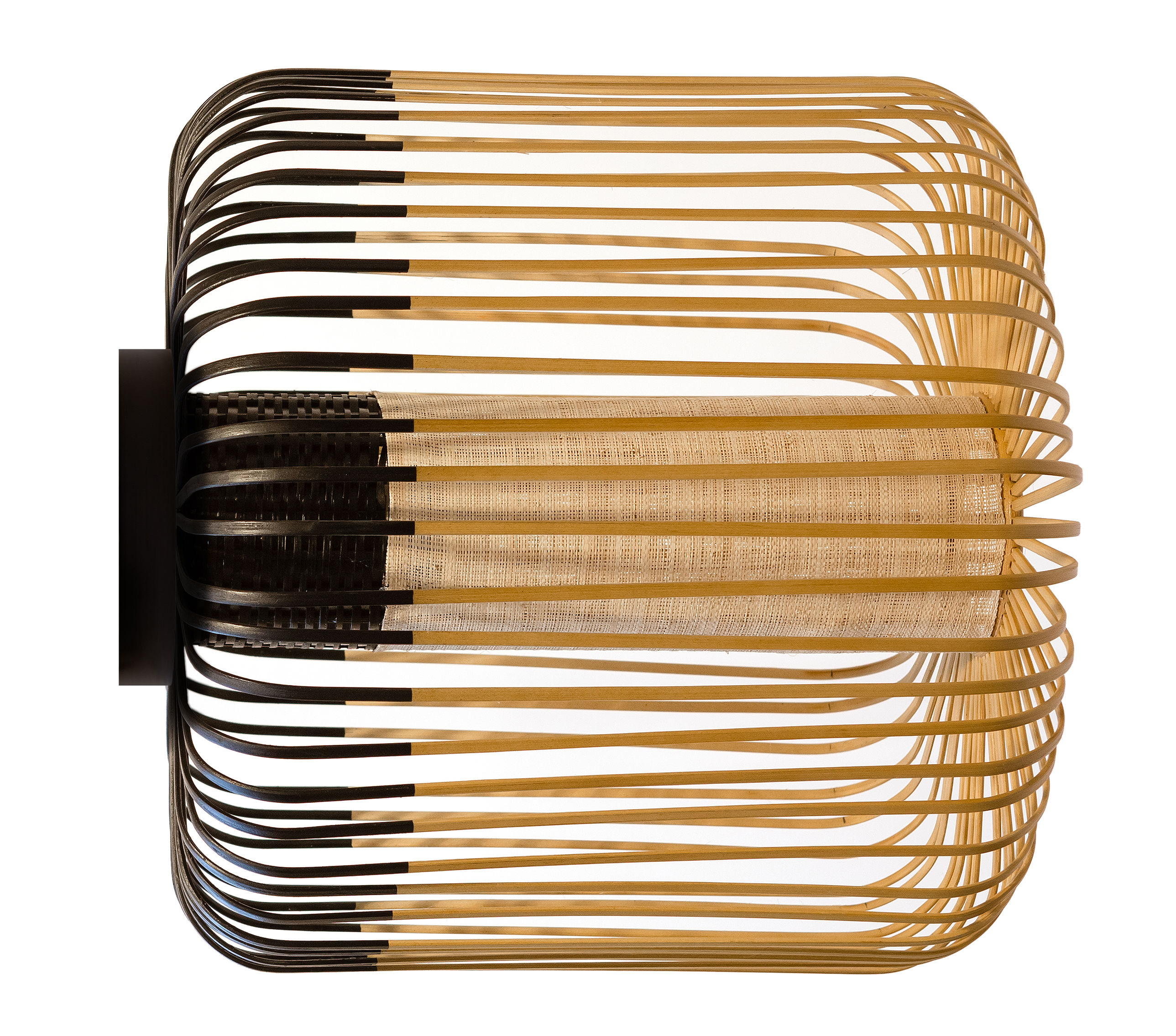 Luminaire - Appliques - Applique Bamboo light M / Plafonnier - Ø 45 x H 40 cm - Forestier - Noir / Naturel - Bambou naturel, Tissu