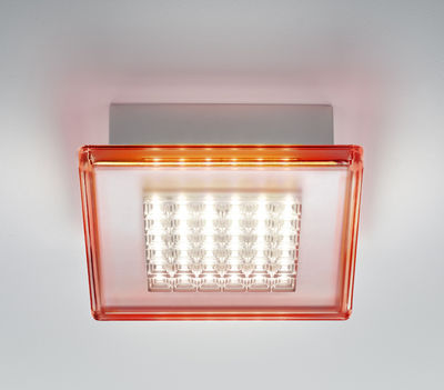 Applique Quadriled LED / Plafonnier - 16 x 16 cm - Fabbian rouge en matière plastique