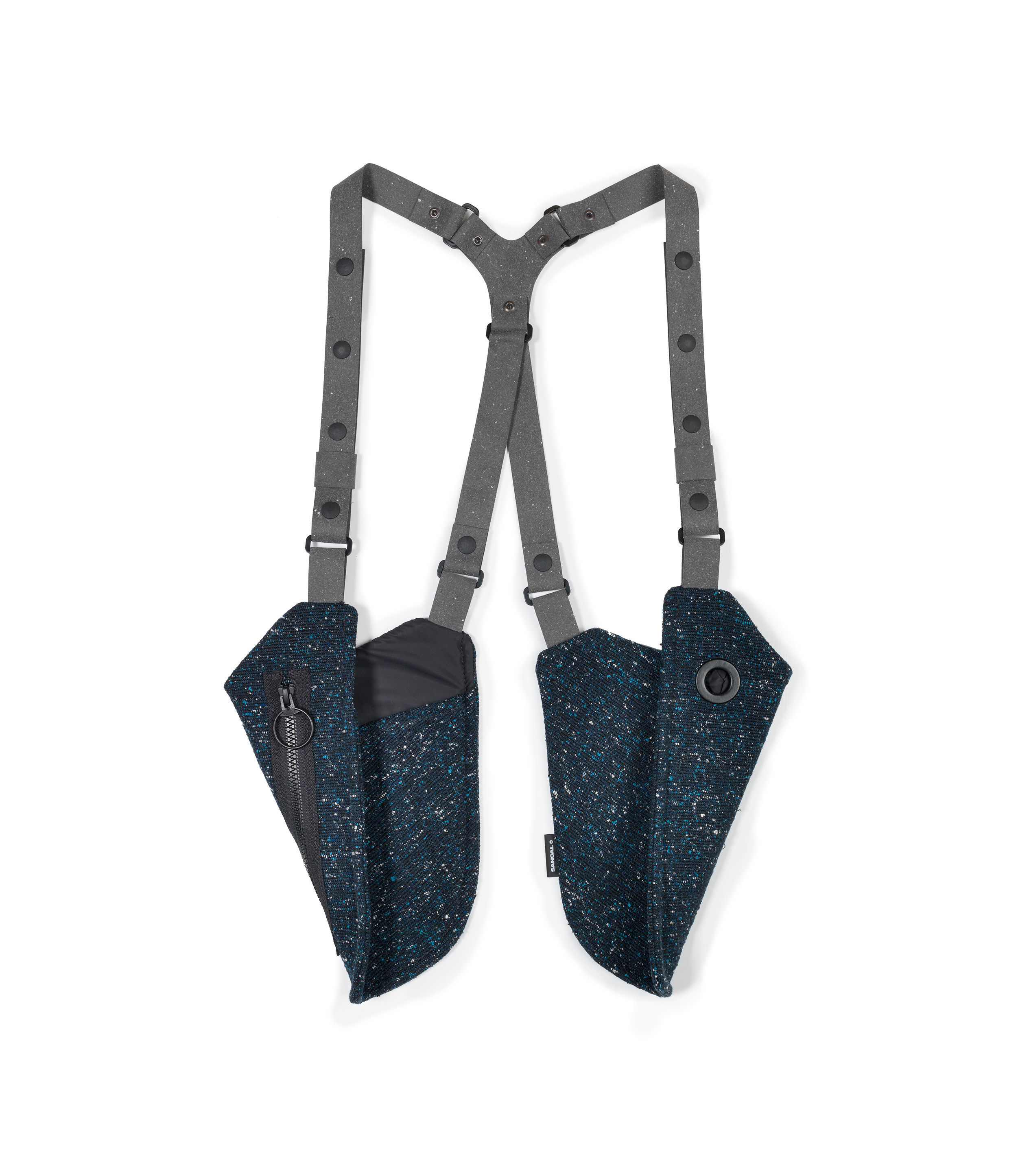 Accessories - Bags, Purses & Luggage - Sin Pistols Bag with strap - / 2 pockets by Sancal - Navy blue - Polyester, Recycled leather