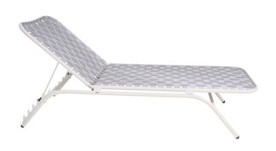Outdoor - Chaises longues et hamacs - Bain de soleil Yard / Sangles élastiques - Emu - Structure blanche / Assise grise - Aluminium verni, Sangles élastiques