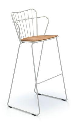 Chaise de bar Paon Métal bambou Houe taupe,bambou naturel en métal
