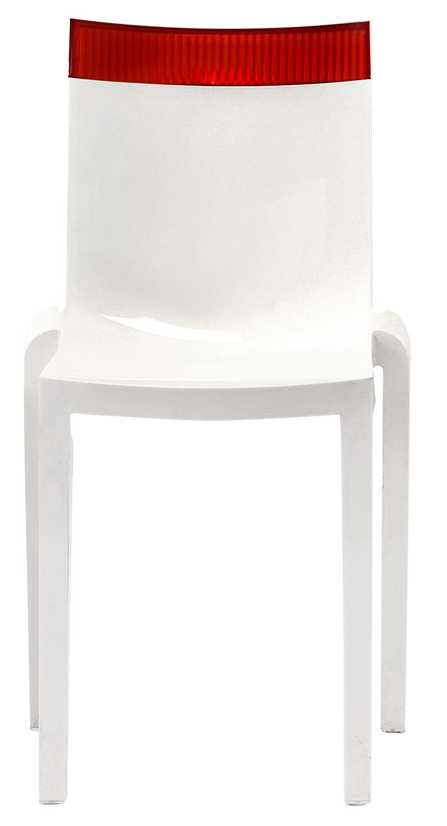 Mobilier - Chaises, fauteuils de salle à manger - Chaise empilable Hi Cut blanche / Polycarbonate - Kartell - Blanc laqué / rouge - Polycarbonate