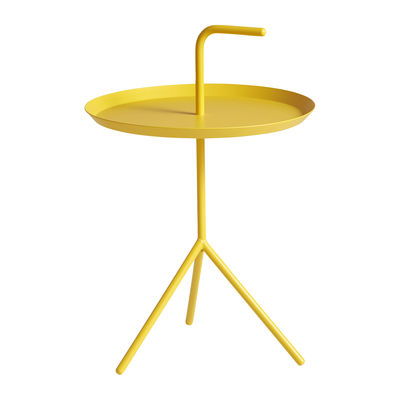 Furniture - Coffee Tables - Don't leave Me Coffee table - / Ø 38 x H 58 cm by Hay - Sunny yellow - Lacquered steel
