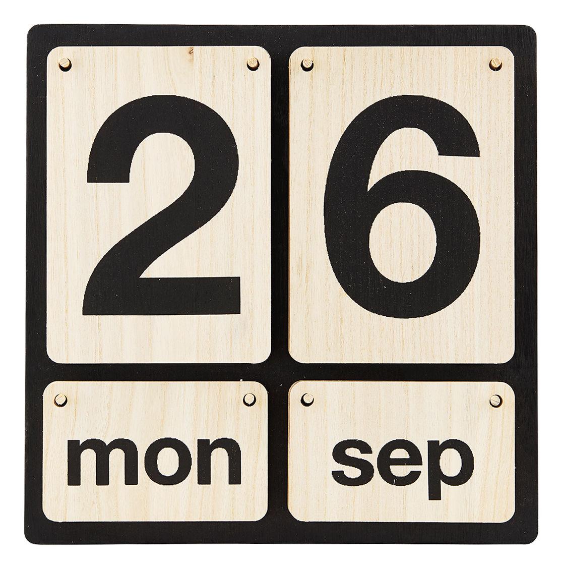 Dekoration - Memos, Magnettafel und Kalender - Lightyear Ewiger Kalender zum Aufhängen / Holz - House Doctor - Helles Holz / schwarz - Paulownia