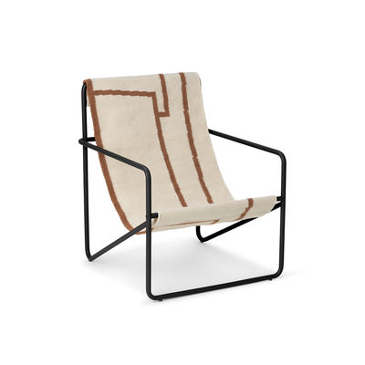 Fauteuil enfant Desert / Structure noire - Bouteilles plastique recyclées - Ferm Living marron/beige en tissu