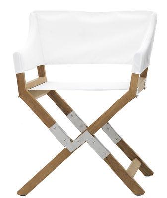 Mobilier - Chaises, fauteuils de salle à manger - Fauteuil pliant Sundance Outdoor / Tissu & bois - De Padova - Blanc / Teck - Acier inox brossé, Mousse de polyuréthane, Teck, Tissu