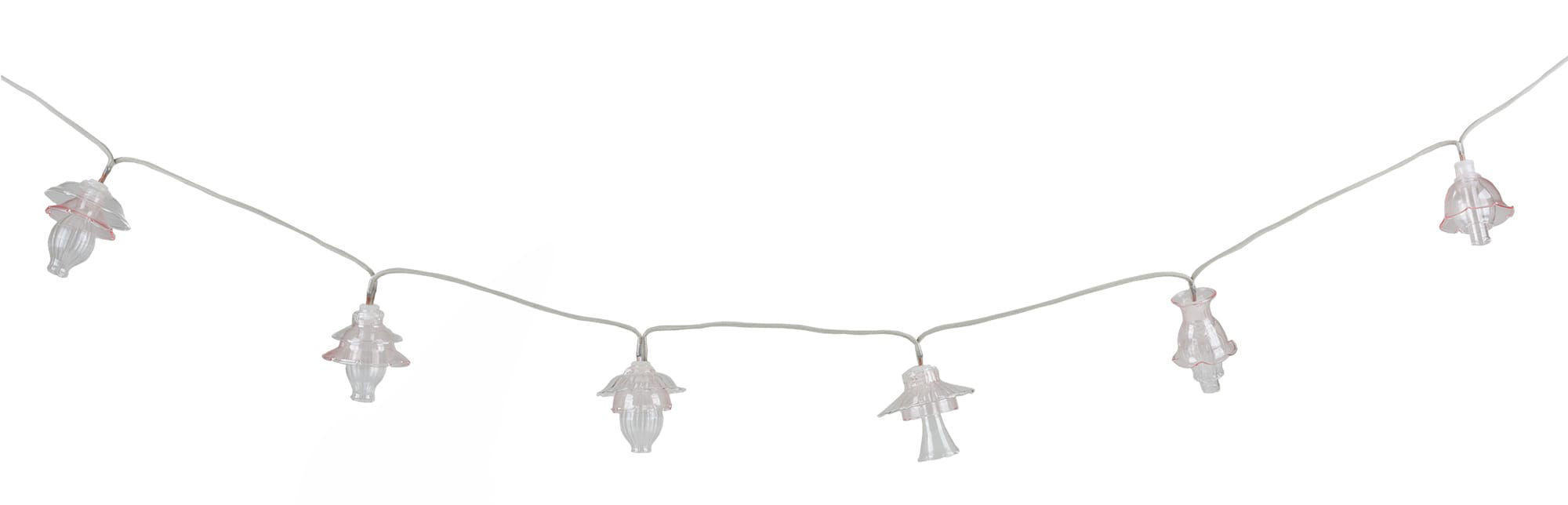 Luminaire - Mobilier et objets lumineux - Guirlande lumineuse Floralia / LED - 12 abat-jours verre - L 420 cm - Seletti - Rose pâle - Verre soufflé