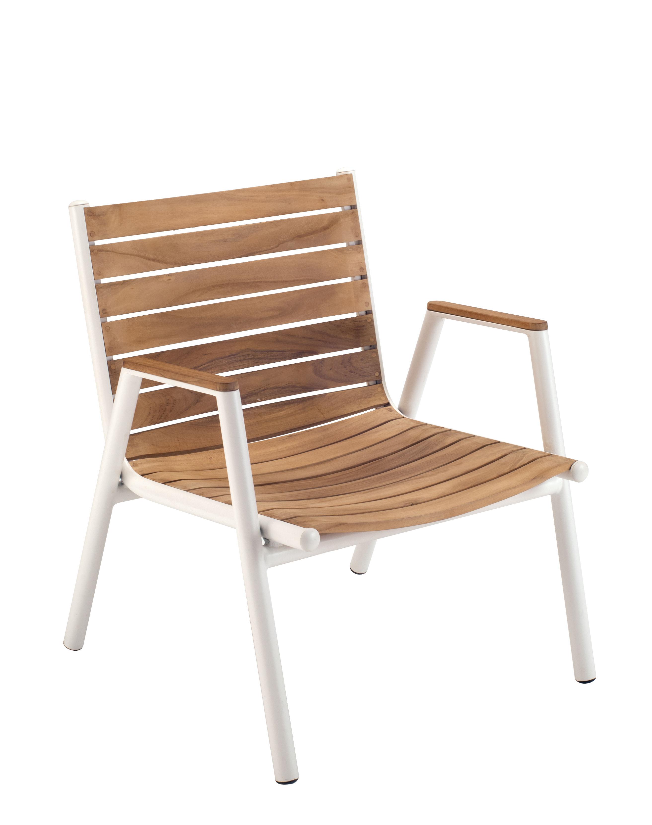 Furniture - Armchairs - Pilotis Low armchair - Stackable - Teak by Vlaemynck - Teak / White - Lacquered aluminium, Oiled teak