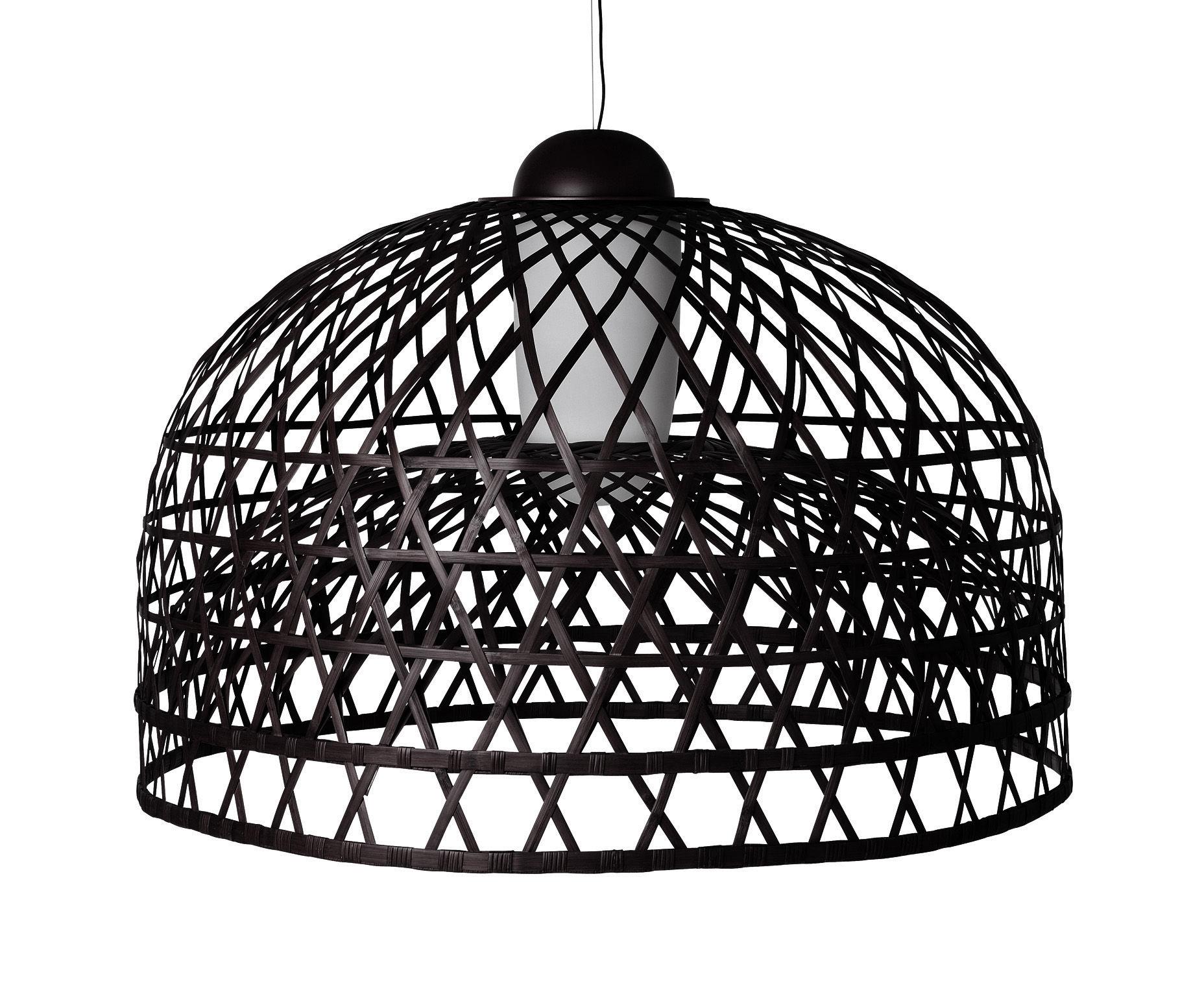 Leuchten - Pendelleuchten - Emperor Pendelleuchte groß - Moooi - Ø 160 cm - schwarz - Aluminium, Rattan