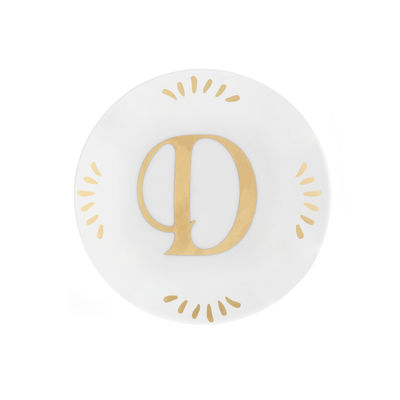 Tableware - Plates - Lettering Petit fours plates - Ø 12 cm / Letter D by Bitossi Home - Letter D / Gold - China