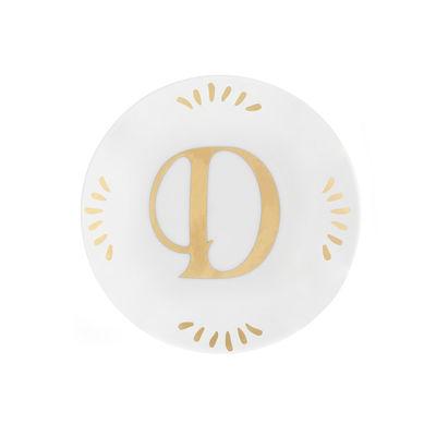Tavola - Piatti  - Piatto per dolcetti Lettering - Ø 12 cm / Lettera D di Bitossi Home - Lettera D / Or - Porcellana