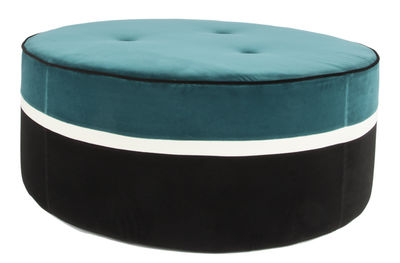 Furniture - Poufs & Floor Cushions - Léo Large Pouf - / Ø 100 x H 43 cm - Velvet by Maison Sarah Lavoine - Blue, Jasmine, Black - Foam, Velvet, Wood
