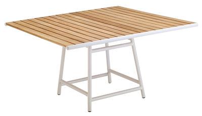 Outdoor - Gartentische - Pilotis quadratischer Tisch / 135 x 135 cm - Teakholz - Vlaemynck - Teakholz / weiß - Geöltes Teakholz, lackiertes Aluminium