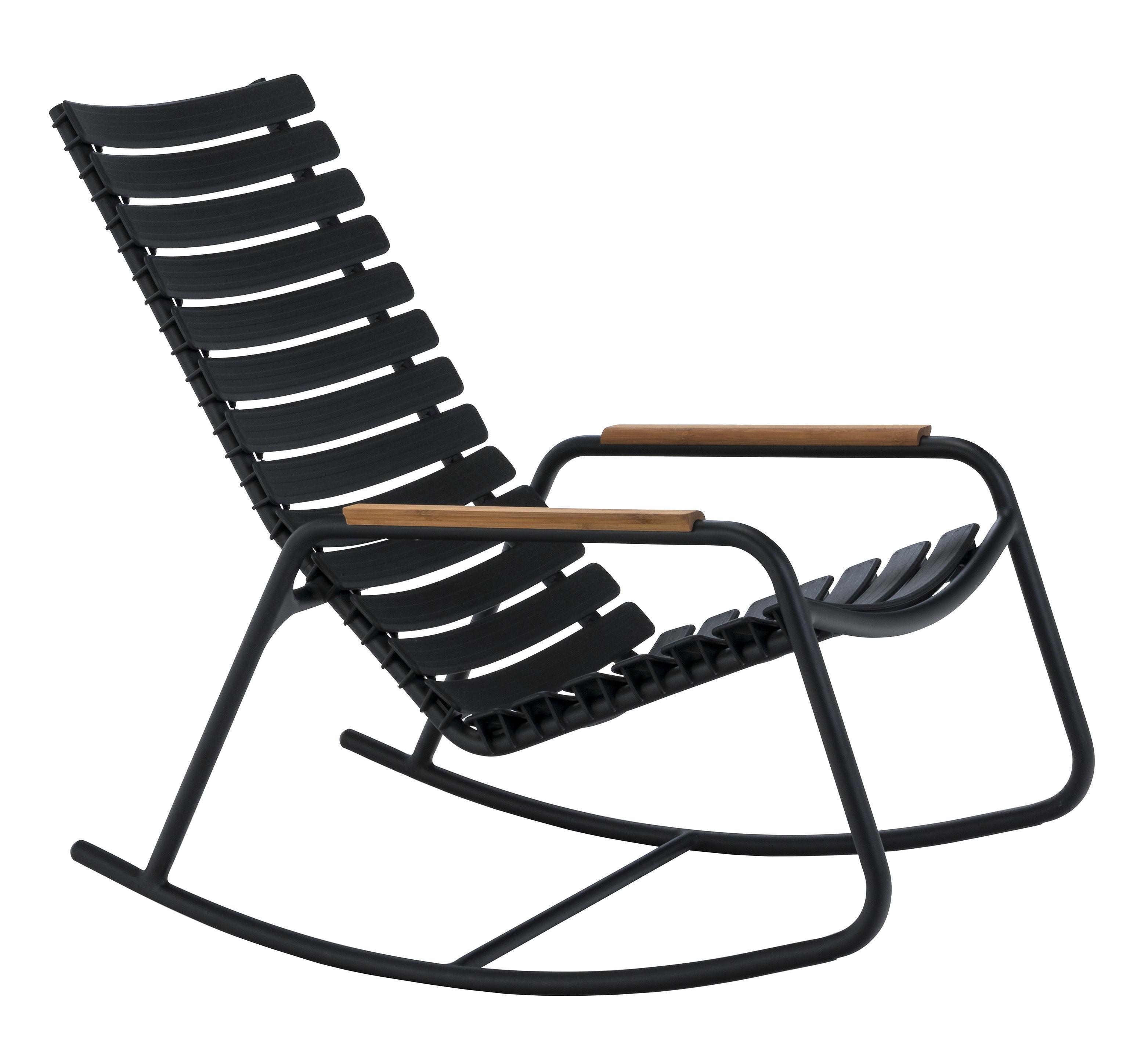 Arredamento - Poltrone design  - Rocking chair Clips - / Plastica & braccioli bambù di Houe - Nero / Bambù - Alluminio, Bambù, Materiale plastico