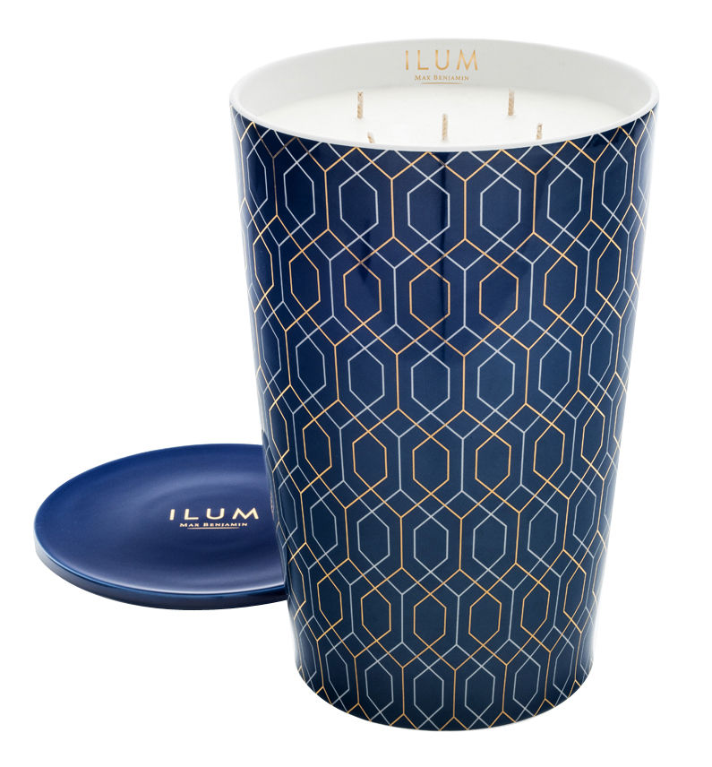Decoration - Candles & Candle Holders - Ilum Perfumed candle - Belgravia Lux / 5,15kg by Max Benjamin - Belgravia Lux / Blue & gold -  Cire naturelle, Cotton, Essential oil, Glass