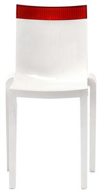 Arredamento - Sedie  - Sedia impilabile Hi Cut - Struttura bianca laccata di Kartell - Bianco laccato / rosso - policarbonato