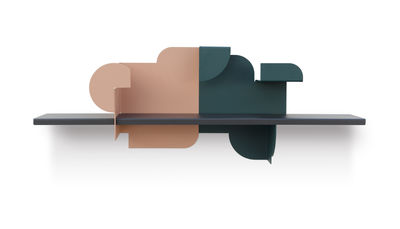 Furniture - Bookcases & Bookshelves - Urba 02 Shelf - / Integrated bookends - L 78 cm by Presse citron - Nude pink & green / Carbon - Lacquered steel