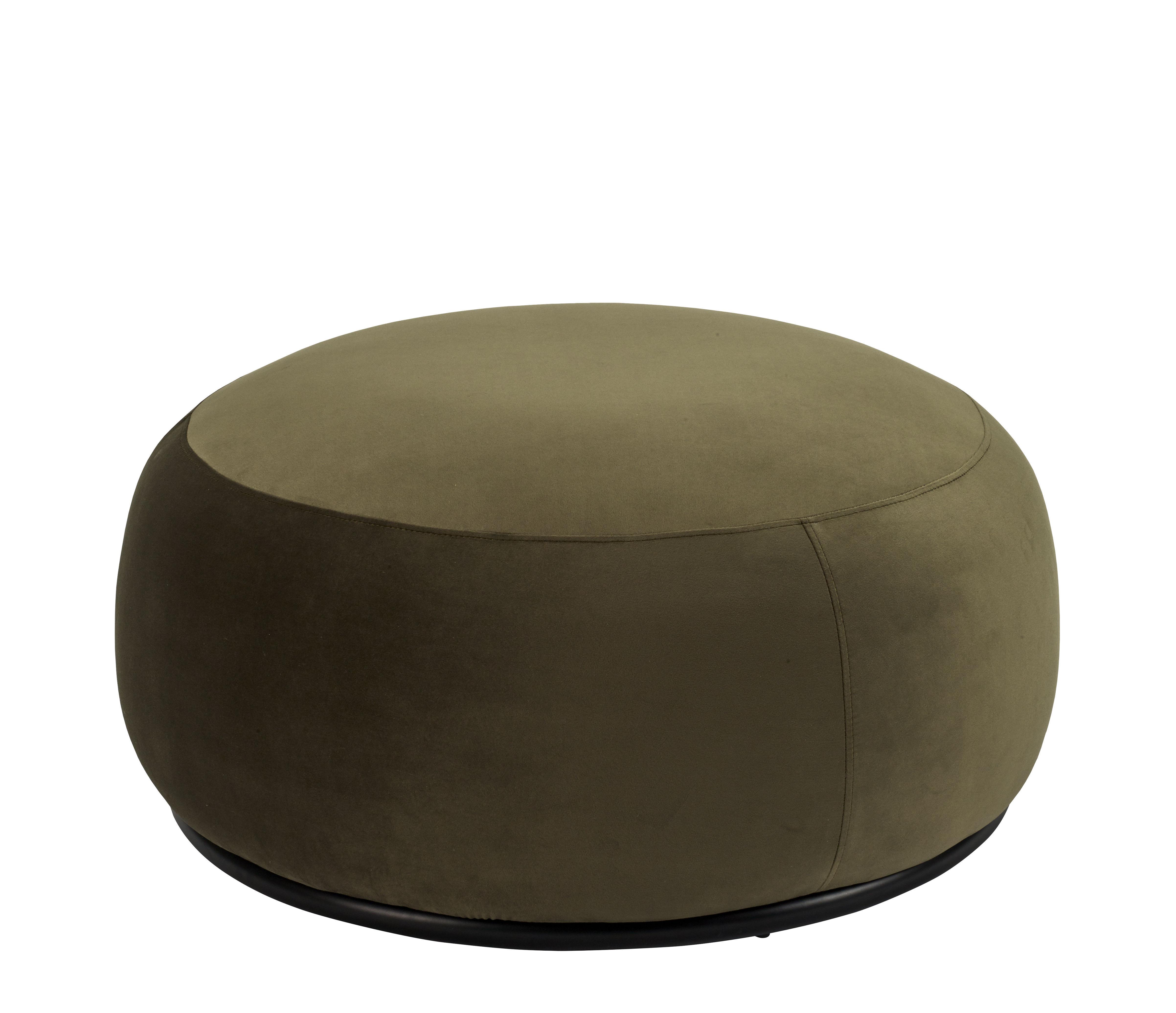 Möbel - Sitzkissen - Bonbon Sitzkissen / Large - Ø 85 cm - Bolia - Kaki / Gestell schwarz - gefirnister Stahl, Velours
