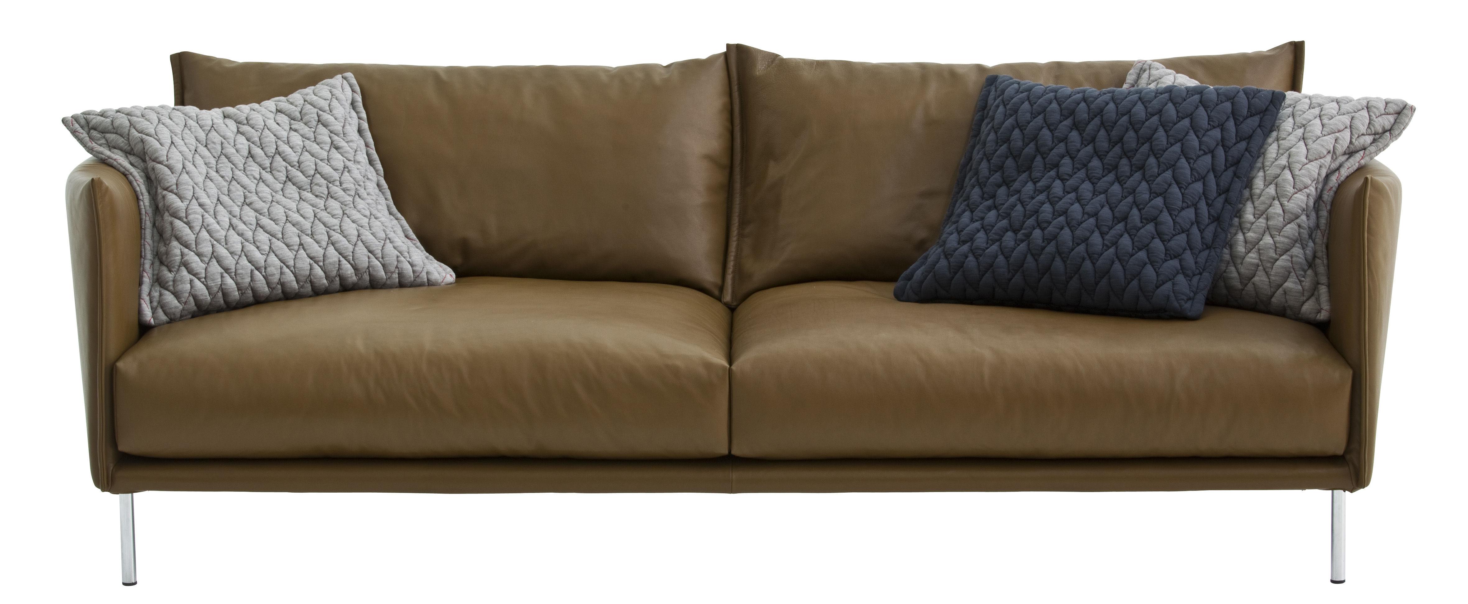 Möbel - Sofas - Gentry Sofa / L 240 cm - mit Lederbezug - Moroso - Braunes Leder, gewachst / Füße aus Chromstahl - Gänsedaune, lackierter Stahl, Leder, Polyurethan-Schaum