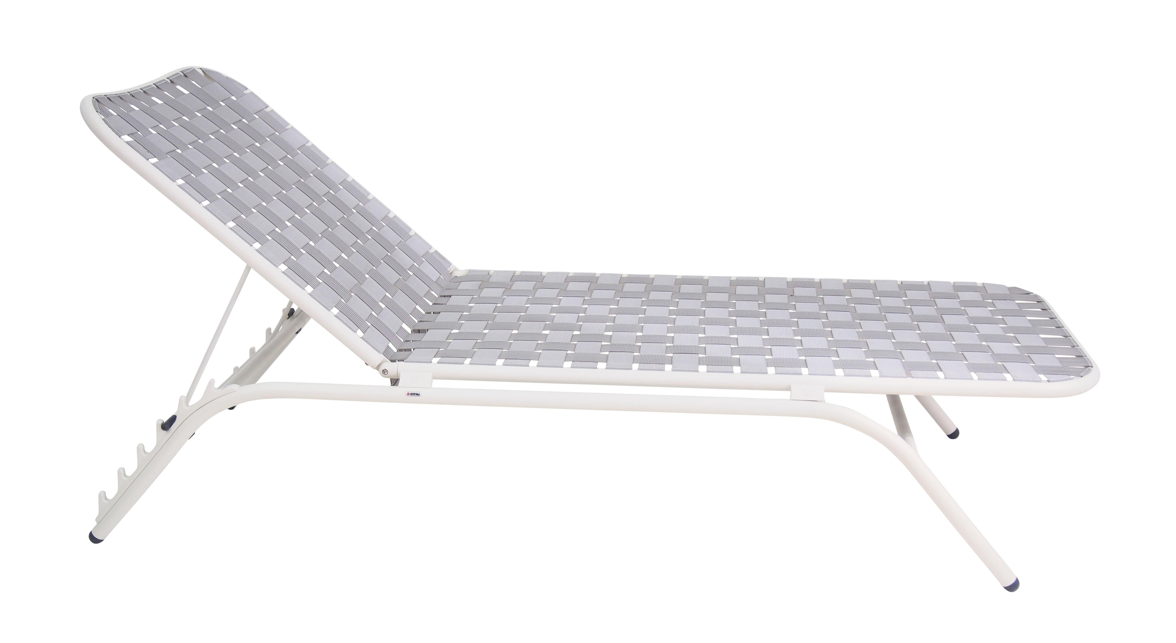 Outdoor - Liegen und Hängematten - Yard Sonnenliege / Sitzfläche aus elastischen Gurten - Emu - Gestell weiß / Sitzfläche grau - klarlackbeschichtetes Aluminium, Spanngurt, elastisch