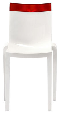 Furniture - Chairs - Hi Cut Stacking chair - White polycarbonate by Kartell - Lacquered white / red - Polycarbonate