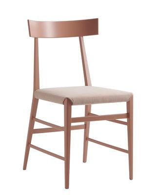 Möbel - Stühle  - Noli Stuhl / Stoff & massive Buche - Zanotta - Ziegelrosa - Gewebe, Hêtre massif peint, Schaumstoff